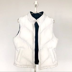 White & Navy Reversible Puffer Vest